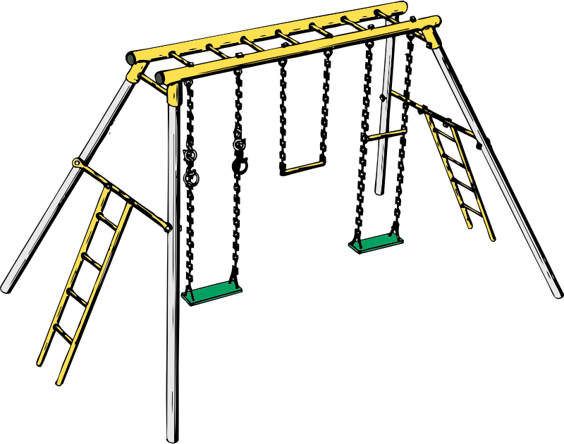 swing set by johnny_automatic - a children's backyard swing set with climbing ladders from a U.S. patent drawing