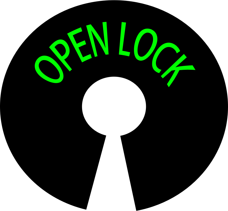 logo open lock by bobby520 - key hole with open lock word.