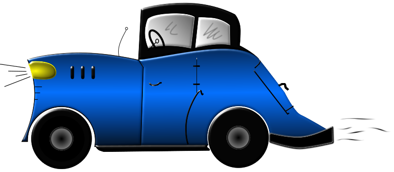 Cartoon Car by mystica - a cartoon car that i have created with help from a friend at work. He draw a sketch with a real paper and pencil, and i vectorized it in inkscape and made it with colors!