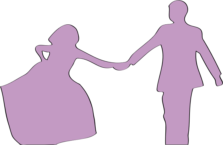 just married by presquesage - silhouette of a couple in love