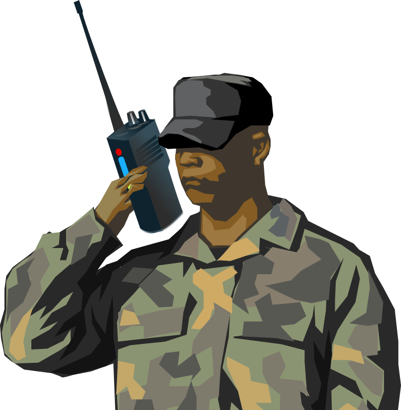 "Soldier with walkie talkie radio by qubodup - A combination of two cliparts into a ""radio communicating sol"
