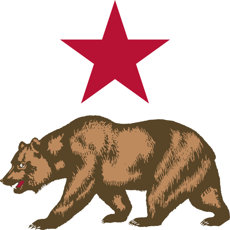 California - Star and Bear Clipart by DevinCook - This clip art contains the bear and star from the Flag of California. The bear was rendered directly using the official drawing found in the law. The star's diameter was increased to the height of the bear and centered above the bear.