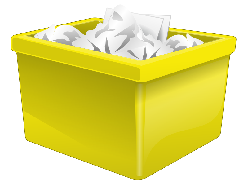 Clipart Yellow Plastic Box Filled With Paper