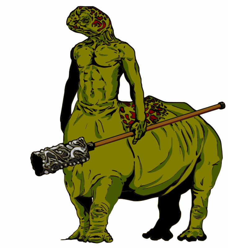 Turtle Centaur by jpneok - A fantasy race of a turtle-centaur, with a two handed mace.