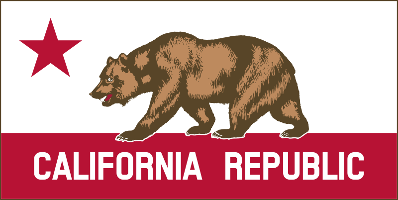 "California Banner Clipart A by DevinCook - This clip art contains the bear and star from the Flag of California. I wanted to create a patriotic style banner. This was the result. The ratio of the image is 2 by 1. The size of the star and red stripe are exaggerated. I also added a thin border around the image.    Please note: this is, in no way, an ""official"" image. It is not defined in any state law."