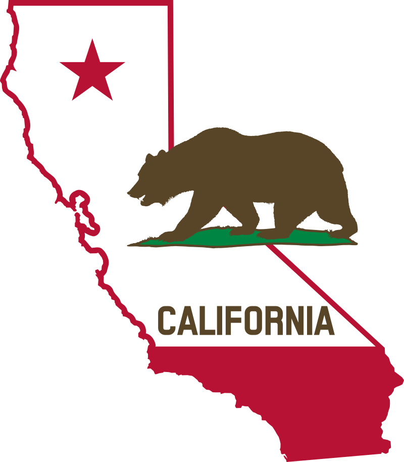 California - Outline and Flag (Solid) by DevinCook - This clip art contains the outline of the state of California.