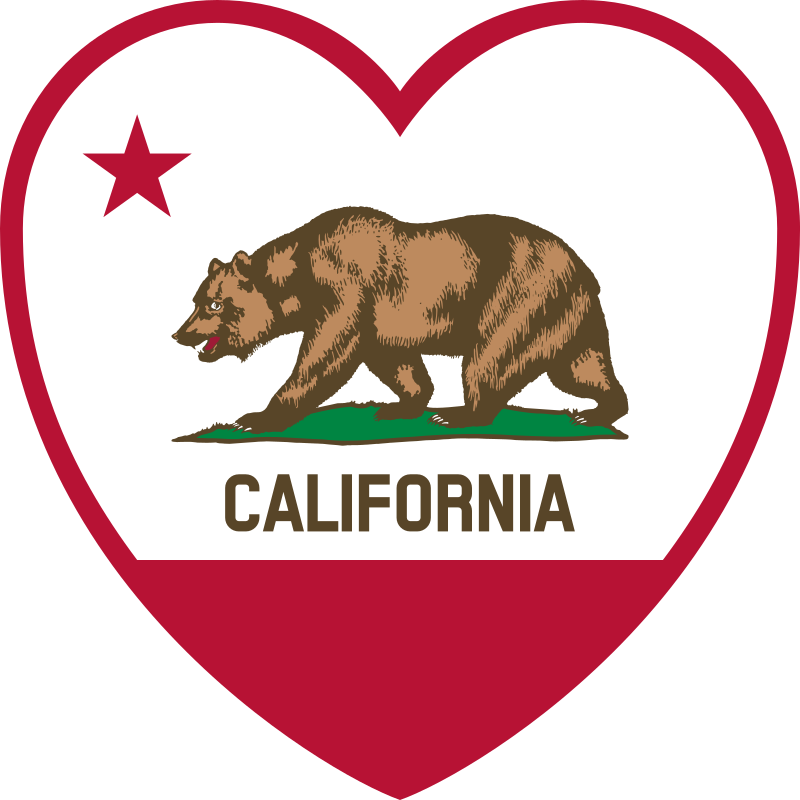 California Flag Heart by DevinCook - This clip art contains a heart with elements from the Flag of California to make an image that could show both. The position of the star was offset and the si