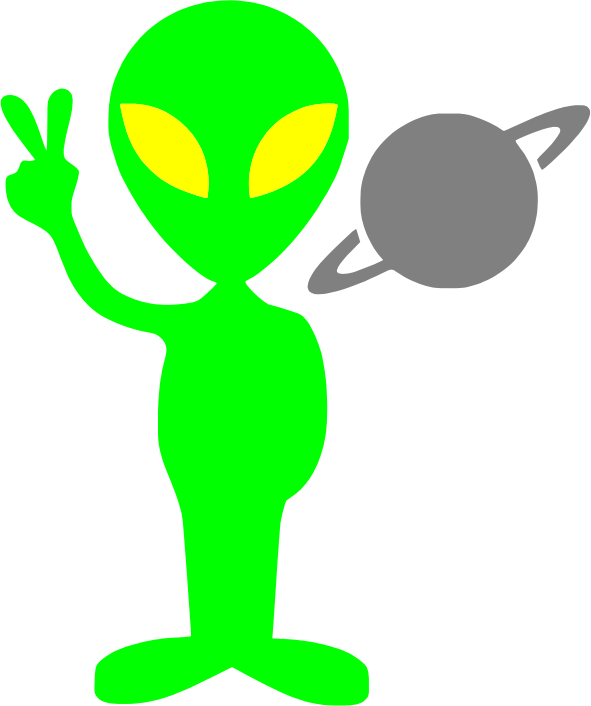 Tobyaxis the Alien by lakeside - A green alien with saturn.