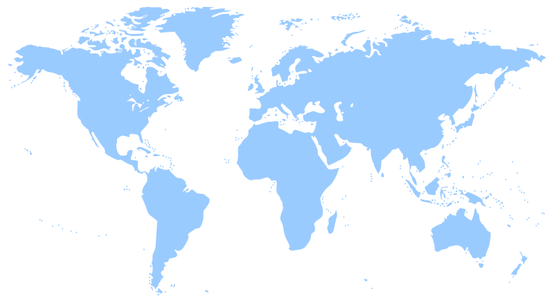 world map by molumen - A map of the world showing all the continents (outlined)