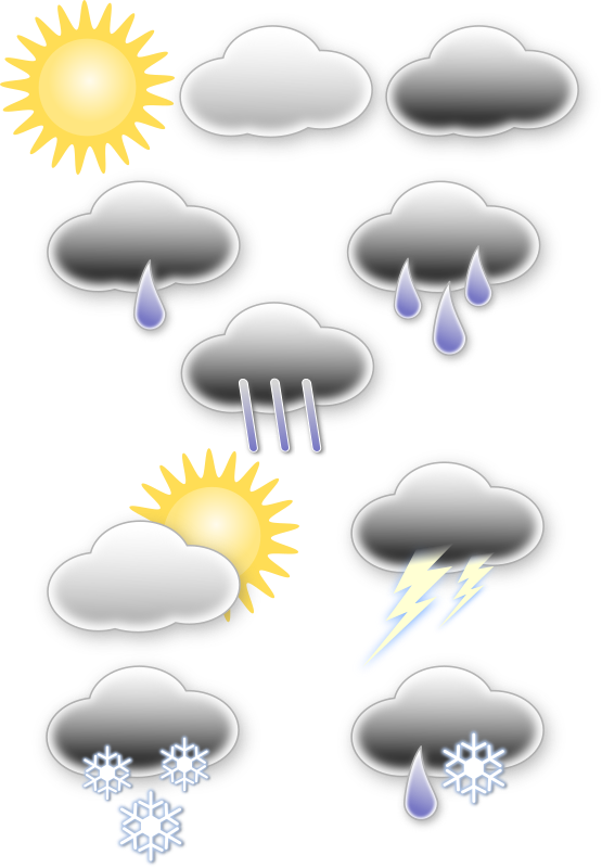 Weather symbols by opk - Mostly used weather symbols arranged on one page.