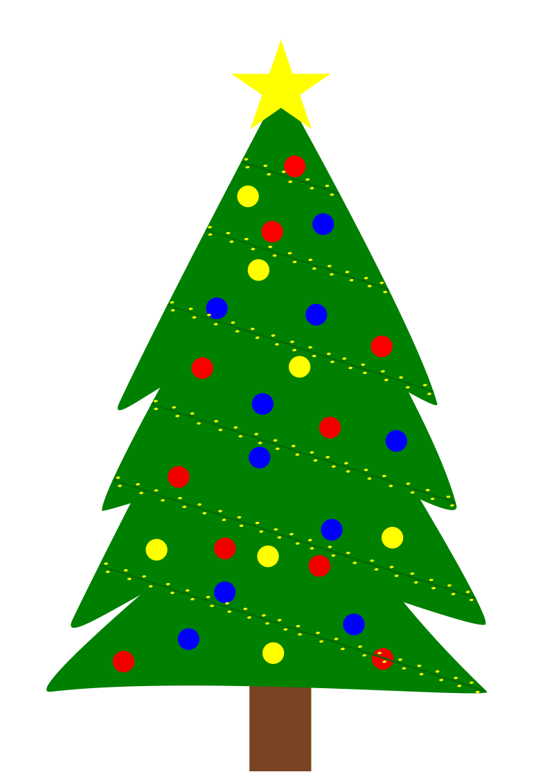 Christmas tree by MTDEWBUNNY - This is a simple Christmas tree I made in Inkscape. Is pretty basic. Has lights, bulbs, and a star on top. Hope you enjoy.
