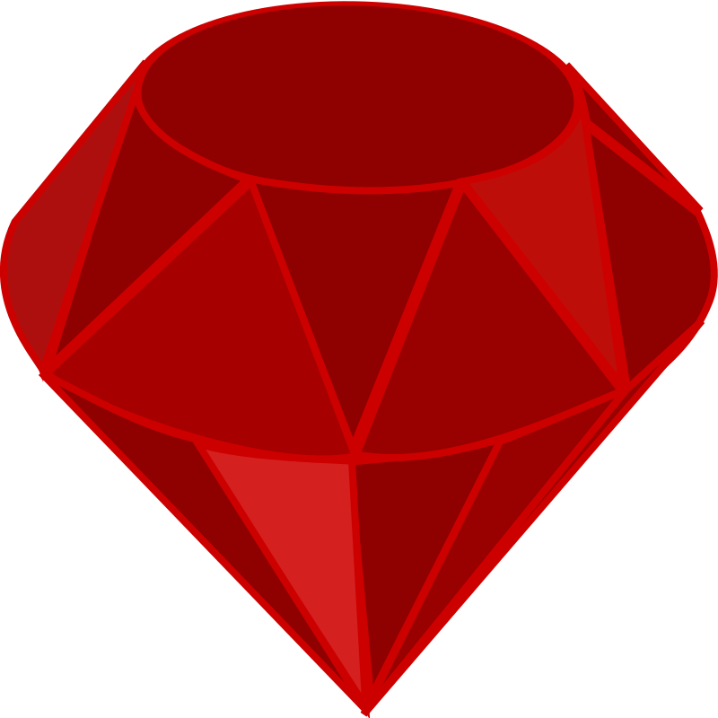 Red ruby, no transparency, no shading, square area by qubodup