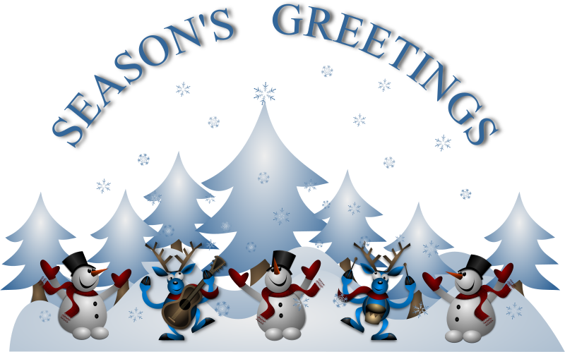 Seasons Greetings Card Front by Merlin2525 - The Front of a Season's Greeting Card with snowmen, reindeers, snowflakes, trees, etc.  NOTE: Firefox is not rendering the shadows or the eyes of the reindeers correctly, Chromium web browser shows them right. Use the PNG feature of the website or Load into Inkscape to generate the PNG image.
