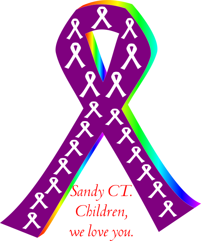 children of sandy CT by bobby520 - Ribbon for the children of sandy CT. The purple ribbon is for the school staff and the white ribbons are for the children. Please pass this clip art on if you like it. Thank you.