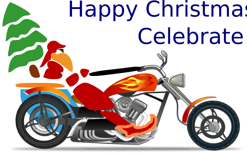 Santa on chopper by rajok - Reworked on uploads 'color santa' by molumen and 'Chopper' by netalloy