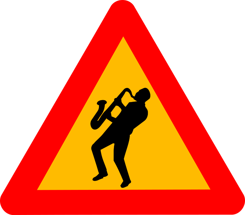 "Caution jazz by dominiquechappard - Jazz symbol, ""caution sign"""