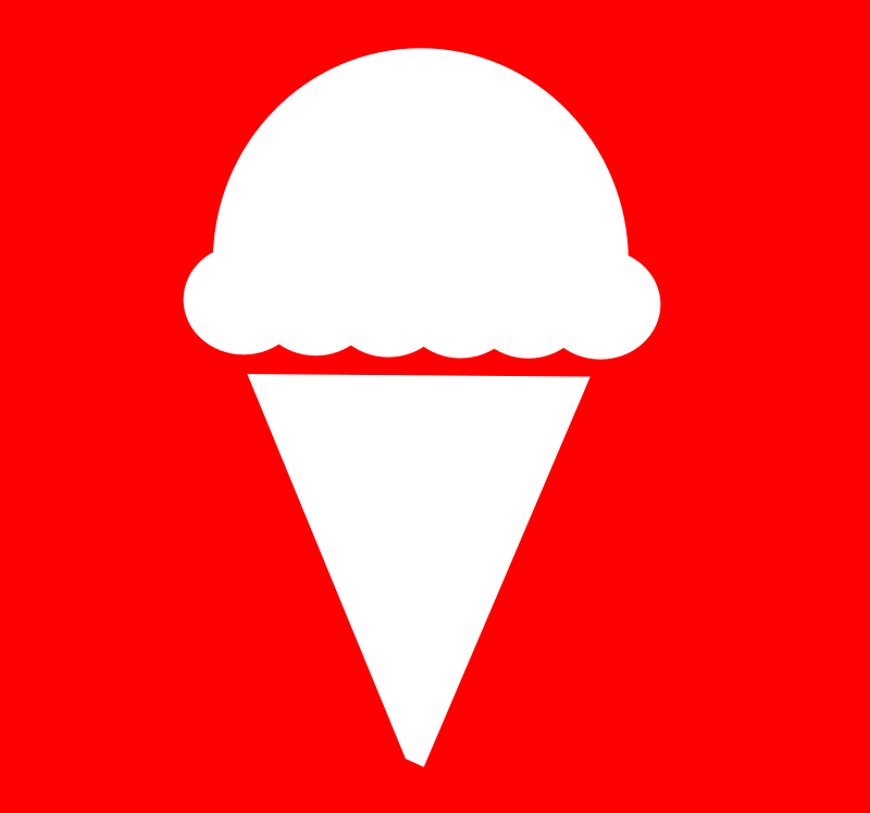 Ice Cream Icon by FunDraw_dot_com - Ice cream icon with a red background.