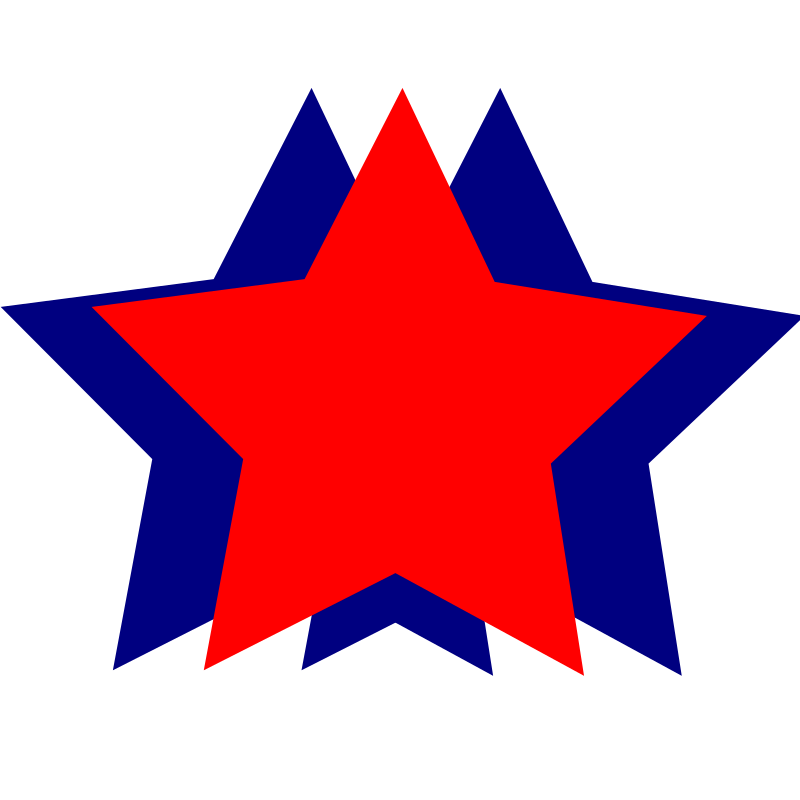 Stars - Red and Blue by wordtoall.org - Red star with two blue stars in the background