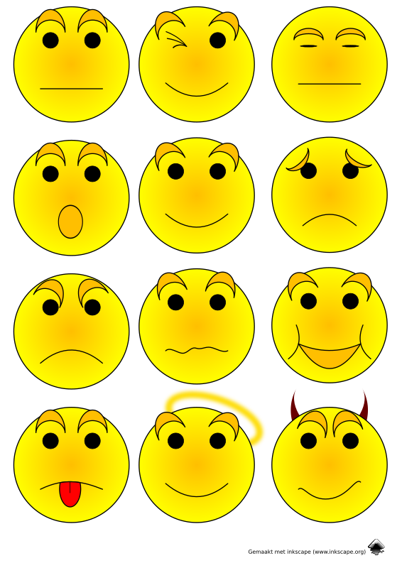 Emoticons by Jurgentje - 16 smiley images - easily to be transposed into other figurines...