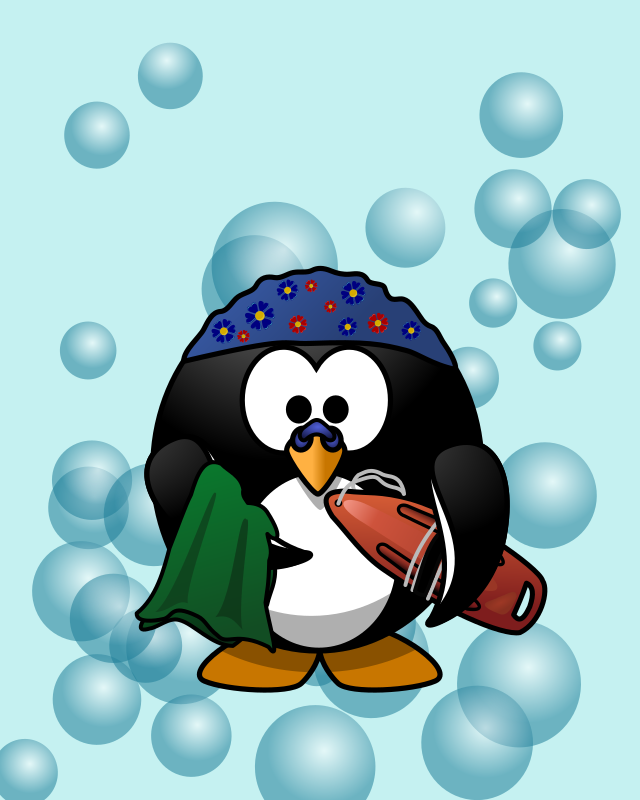 Go swimming! by Moini - Ready-to-print card cover with a happy penguin going to take a swim!