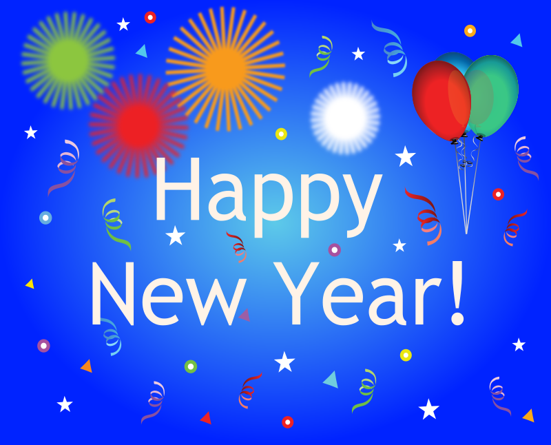 Happy New Year by bdtiger2000 - This is a glossy new years banner with balloons, confetti, & fireworks.