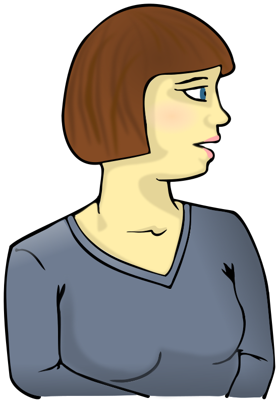 Woman looking sideways by elkbuntu - A white adult female bodied person with brown hair and blue eyes. Wearing a long sleeved blue top. Looking to the left.