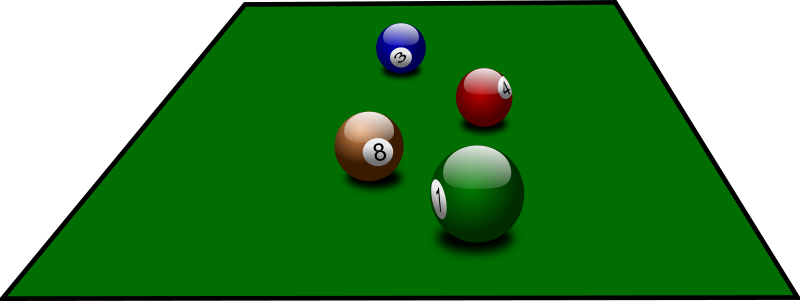 billiard balls by jarda - Four billiard balls at a table.