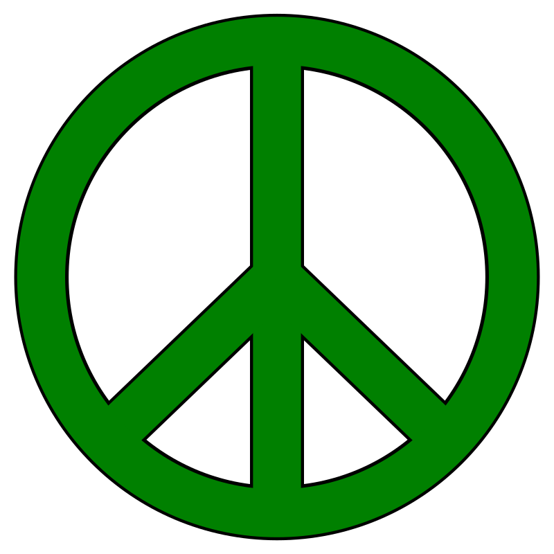 Green Peace Symbol, Black Border by LindsayBradford - A basic peace symbol with black border.