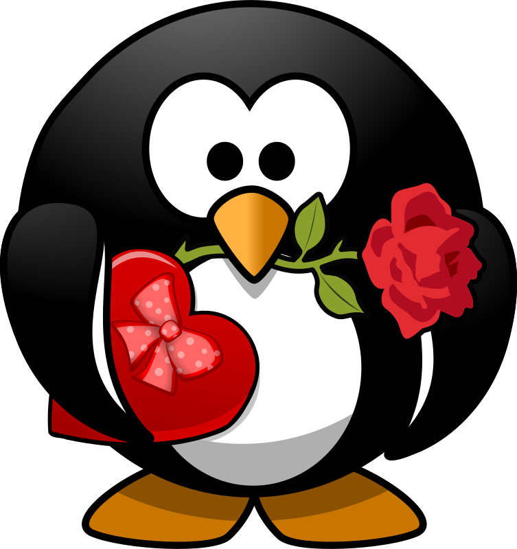 Valentine Penguin by Moini - A little penguin holding a rose in its beak and carrying a box of chocolates for his love.
