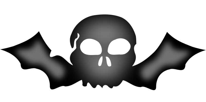 A skull with bat wings by TomZ - A skull with bat wings. Using the bat from http://openclipart.org/detail/2699/bat-by-machovka-2699