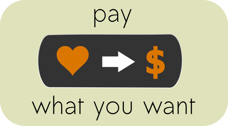 Pay What You Want Button 1 by ephemeralwaves - Using the Sawadee font which has been made into a path