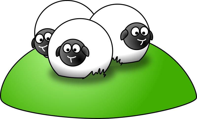 Simple cartoon sheep by lemmling - Three sheeps on a green hill.