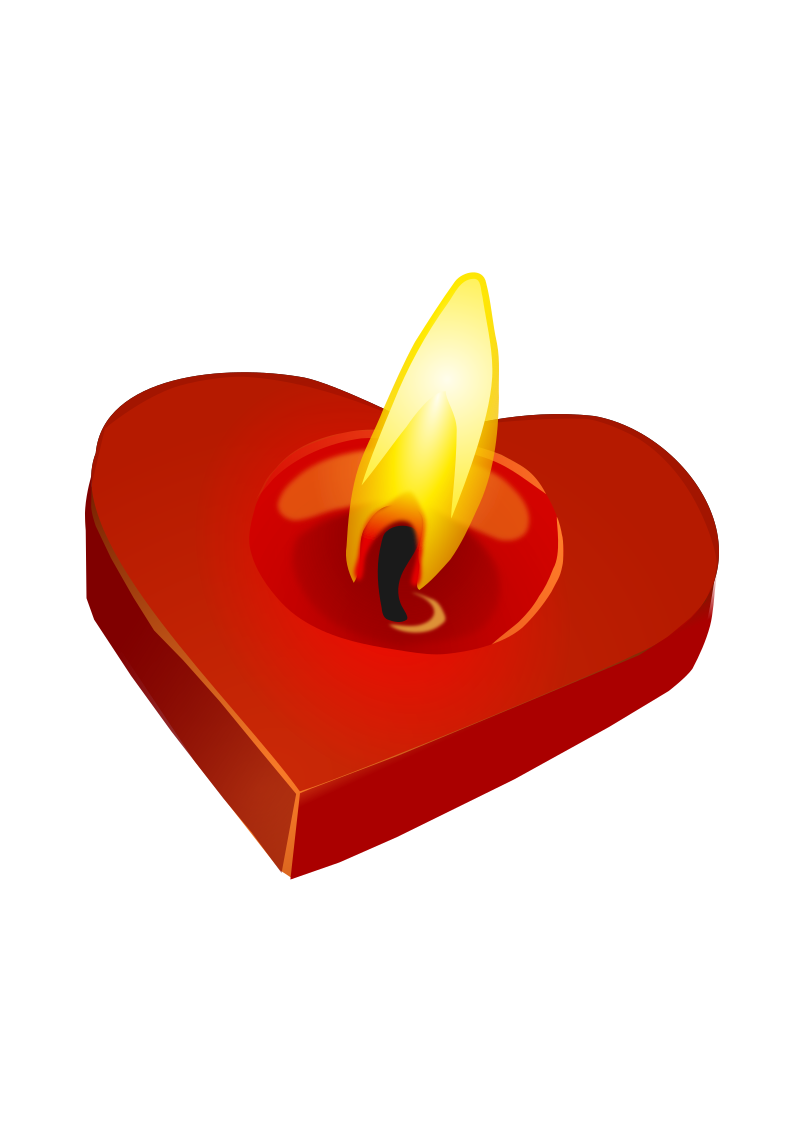 Valentine's Candle by amilo - A heart shaped candle burning.