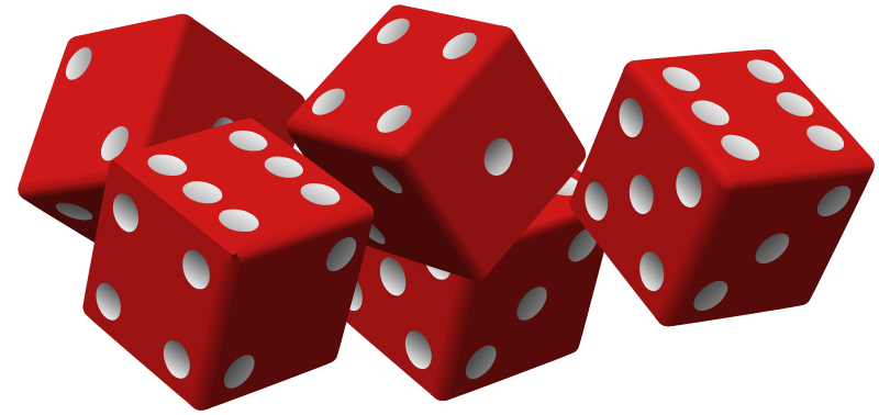 five red dice by mariotomo - five dice, in slightly different positions, all red.