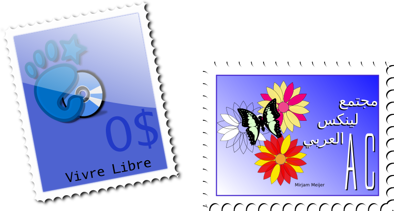 Stamp by niceboy - Blue stamps, one with the Gnome logo and another one with a butterfly.