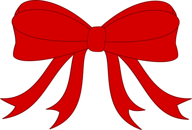 Red Bowed Ribbon by GR8DAN - A red ribbon tied in a bow, simplified for clip-art
