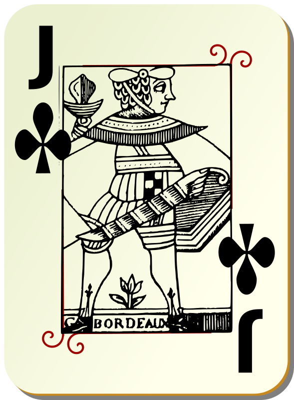 Guyenne deck: Jack of clubs by mariotomo - Jack of club, remixing the Guyenne and the Ornamental decks.
