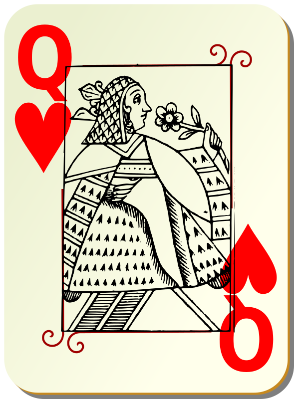 Guyenne deck: Queen of hearts by mariotomo - Queen of heart, remixing the Guyenne and the Ornamental decks.