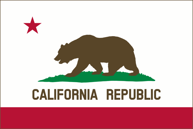 Flag of California (solid, color, border)  by DevinCook - This image contains the Flag of the California. It was carefully designed to match the description of the flag as described in California Law 54-J-03. The bear was rendered directly using the official drawing found in the law. This also includes the grass plot.   This is a simplified version of the flag with a solid brown bear and green grass plot.