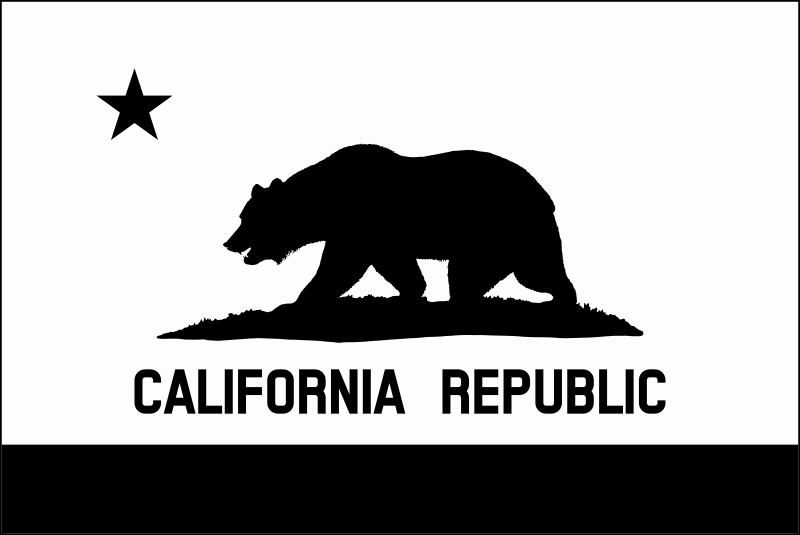 Flag of California (thin border, monochrome, solid) by DevinCook - This image contains the Flag of the California. It was carefully designed to match the description of the flag as described in California Law 54-J-03. The bear was rendered directly using the official drawing found in the law. This also includes the grass plot. This is a monochrome and solid version with a thin border.