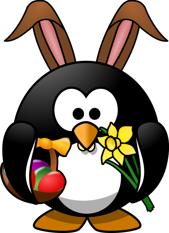 Bunny Penguin by Moini - Hurry up, little penguin, the hunt for Easter eggs will start soon!