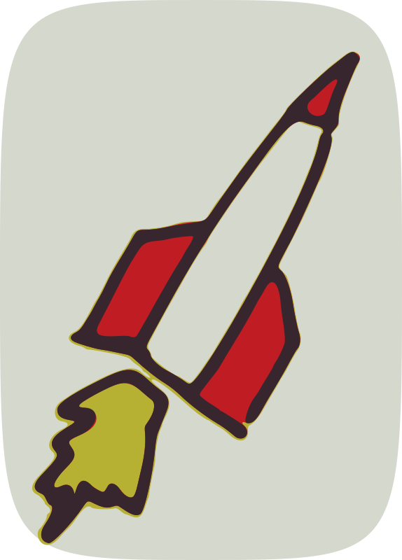 red rocket by global quiz - rocket, hand drawn