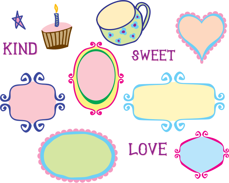 Kitschy Doodle Frame Borders by starsunflowerstudio - Cute kitschy frame borders