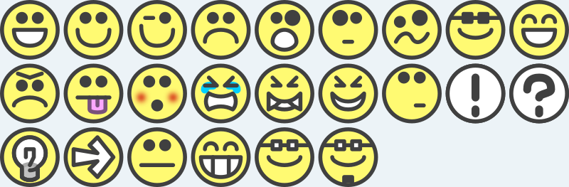 24 flat grin smilies emotion icons emoticons for example for forums by qubodup