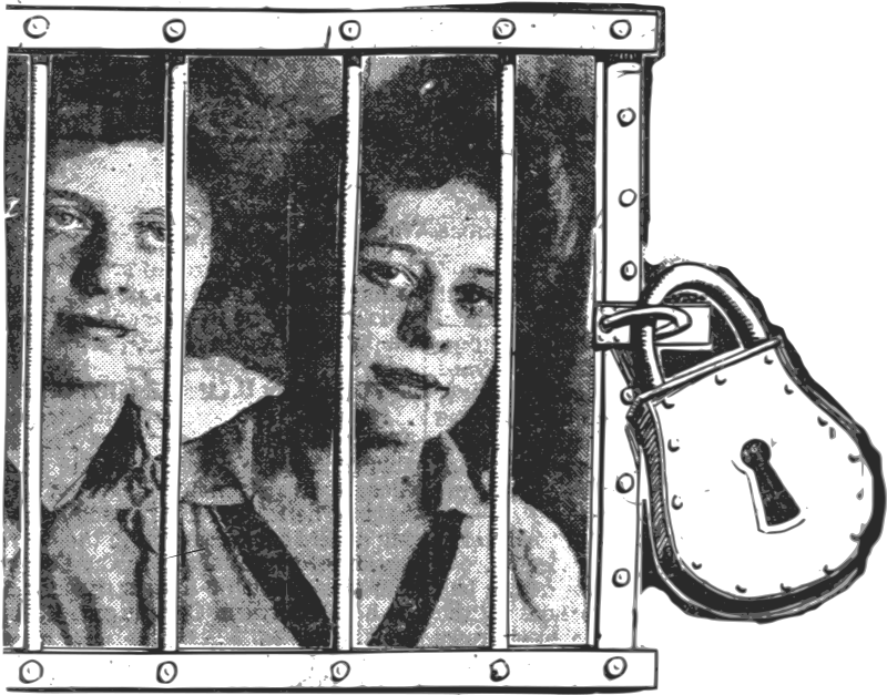 Girls in Prison by j4p4n - The original public domain source used this image symbolically, because the gather of these girls would never let them out of the house. He demanded that they study all the time. Aren't we all prisoners of demands?