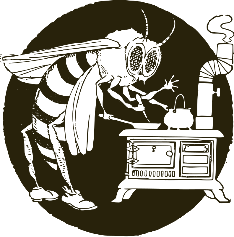 "Working Wasp by j4p4n - Brings new meaning to the ""busy as a bee"" phrase, huh? I would think a bee (or is it a wasp?) wouldn't want to be that close to the heat. And besides what is it cooking? Honey? On a stove it might burn, and what's the point of cooking it? Oh, the questions are endless."
