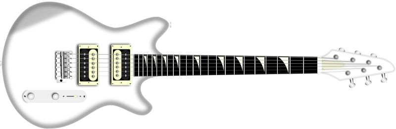 white electric guitar by boobaloo - A white electric guitar on its side