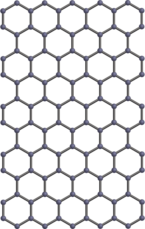 Graphene sheet by J_Alves - Ball-and-stick model of graphene, drawn in Inkscape.  I had to reduce the amount of repetitions on the structure (note that graphene can have an infinite amount of repetitions of the benzene ring motif), due to a bug in OCAL's p