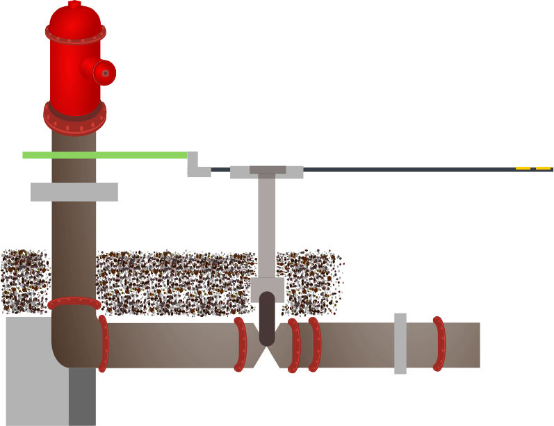 fire hydrant pipes by kryssio2 - Technical drawing of a water hydrant