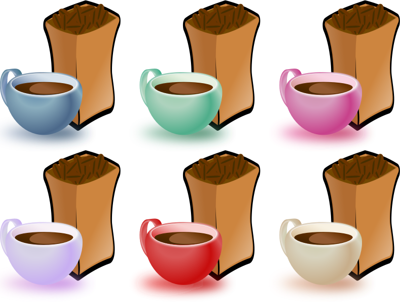 coffee cups by momoko - 6 cups of coffe in different colors